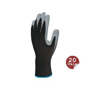 Polyester Gant tricoté / paume nitrile (paquet de 20 paires)