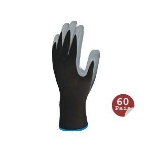 Polyester Gant tricoté / paume nitrile (paquet de 60 paires)