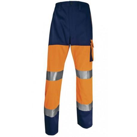 Pantalon orange et bleu haute visibilité Deltaplus