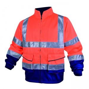 Veste de travail orange et bleue haute visibilité Delta plus