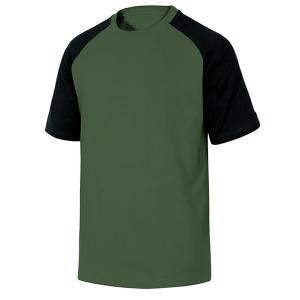 T-shirt de travail en coton vert et noir